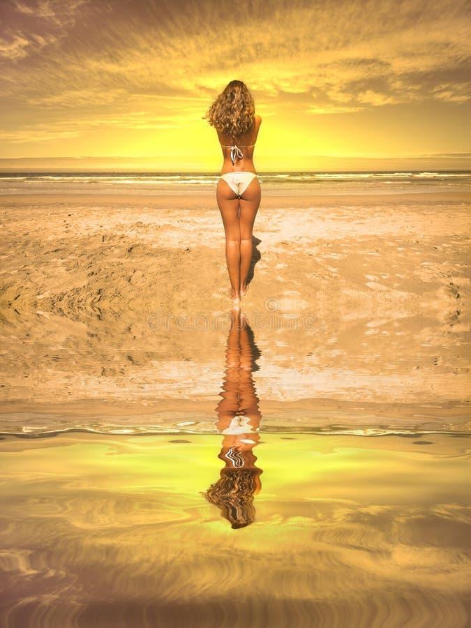 Schönes Mädchen im Strand stockfotos