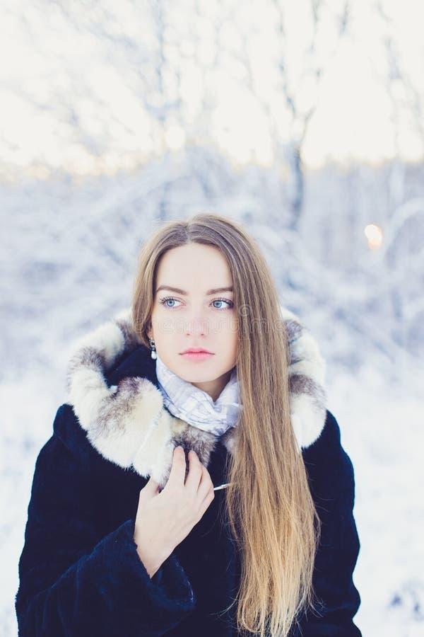 Schönes Mädchen im Winter stockfotos