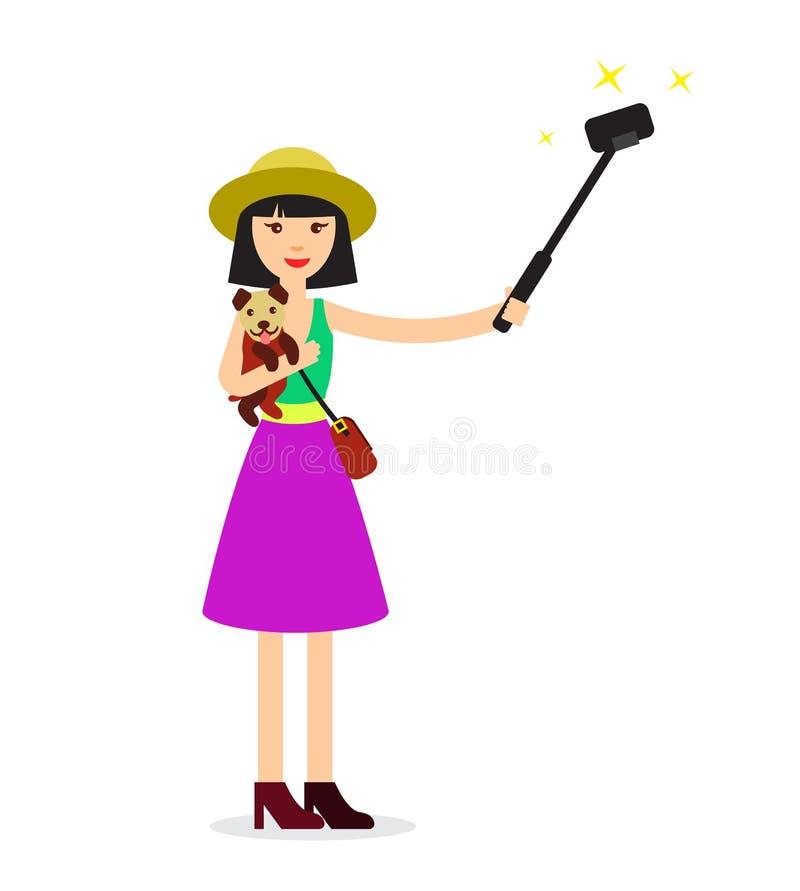 Schönes Mädchen macht selfie mit nettem Hund - flache Illustration Lustiges photosession Konzept vektor abbildung