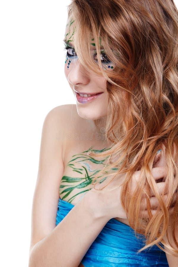 Download Schönes Mädchen Mit Bodyart Stockbild - Bild von schön, grün: 9099009