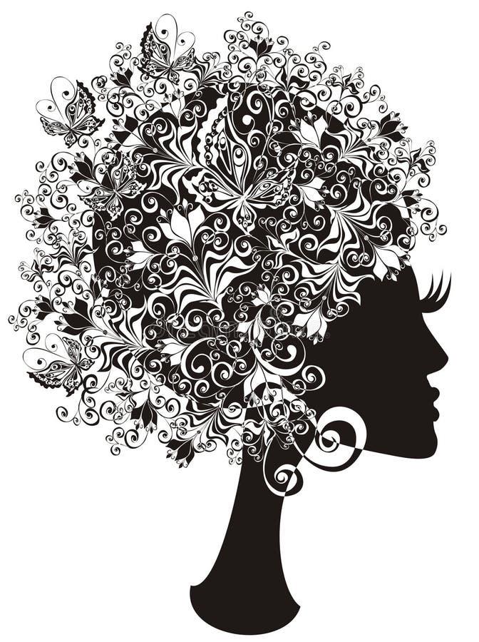 Schönes Mädchen mit dem Blumenhaar lizenzfreie abbildung