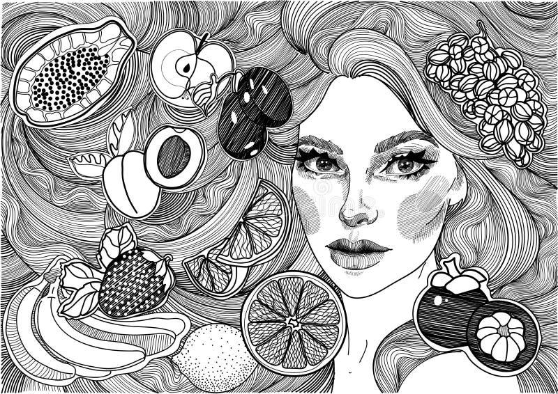 schönes Mädchen mit dem langen Haar und den Früchten lizenzfreie abbildung