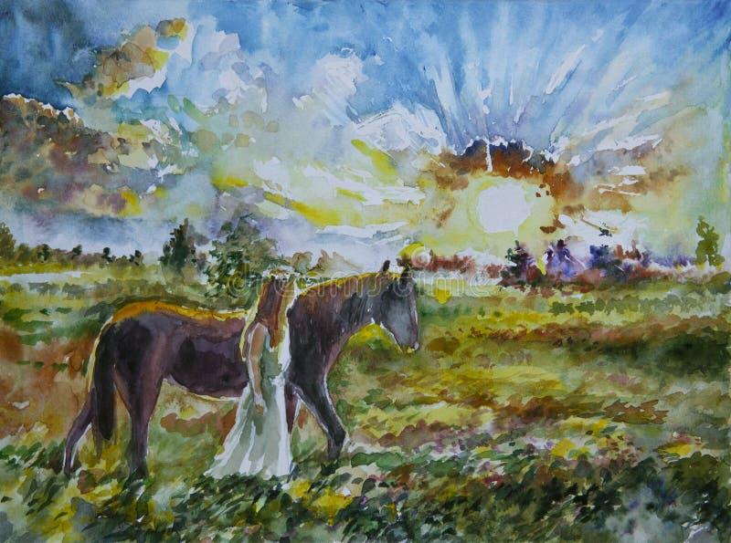 Schönes Mädchen mit einem Pferdesonnenaufgang auf dem Gebiet stockbilder