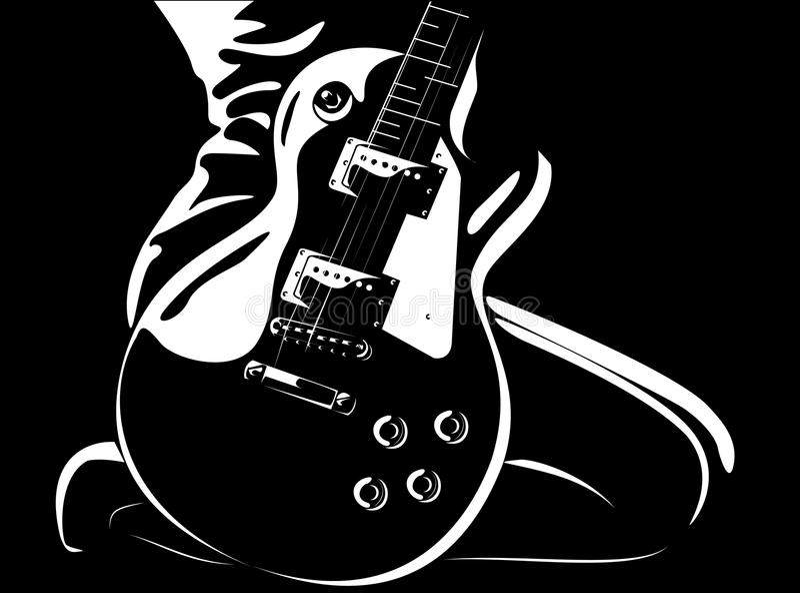Schönes Mädchen mit einer schwarz-weißen Version der Gitarre stock abbildung