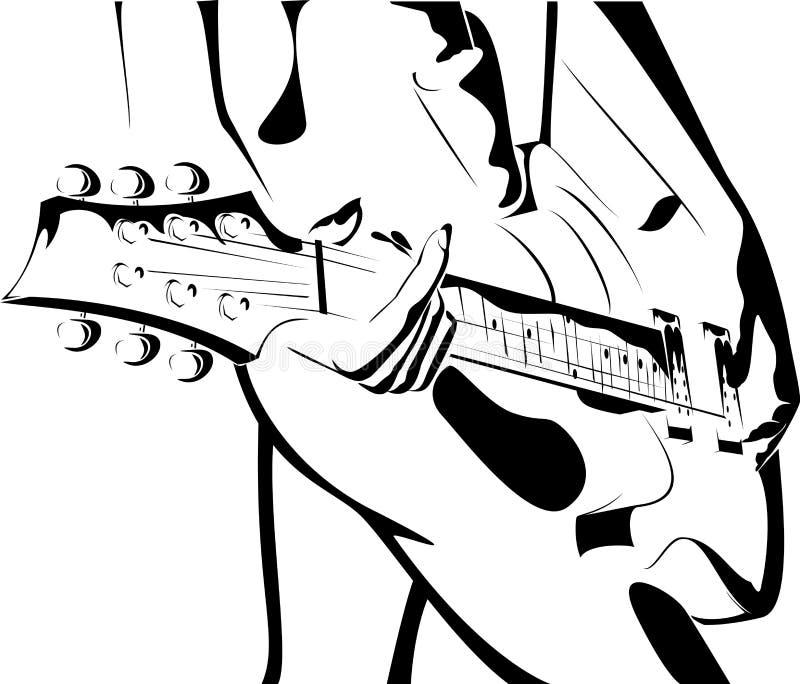 Schönes Mädchen mit einer schwarz-weißen Version der Gitarre vektor abbildung