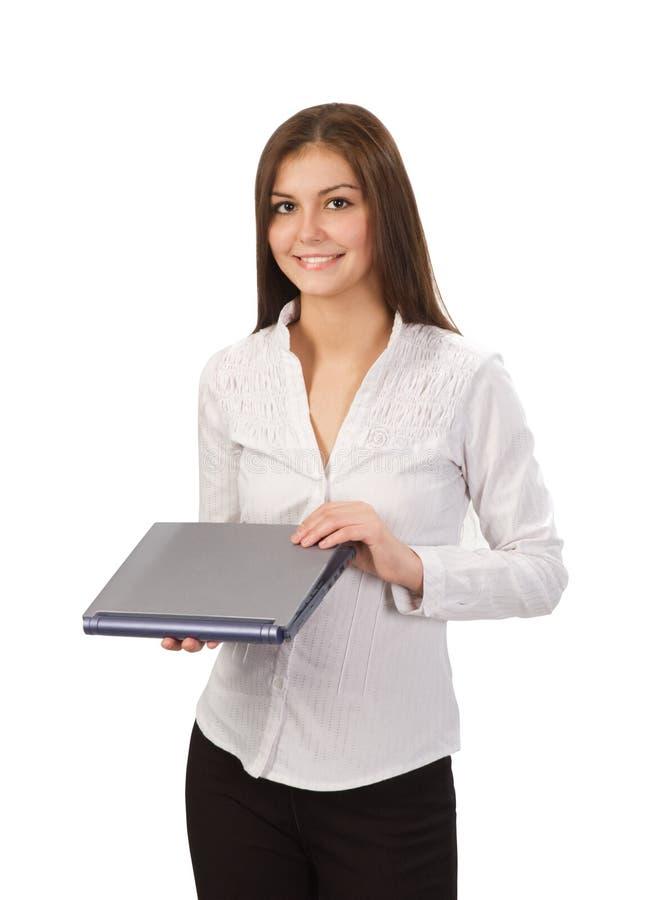 Schönes Mädchen mit Laptop stockfotografie