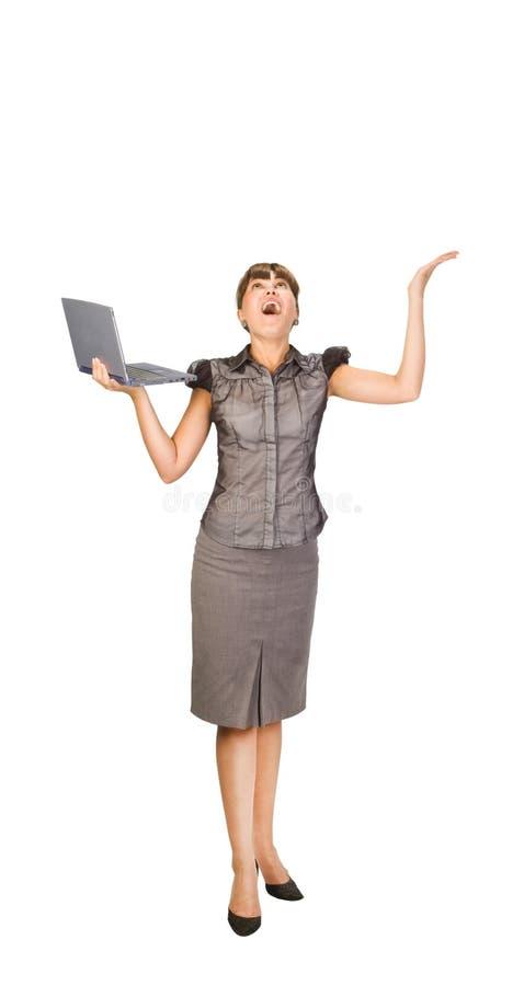 Schönes Mädchen mit Laptop lizenzfreie stockbilder