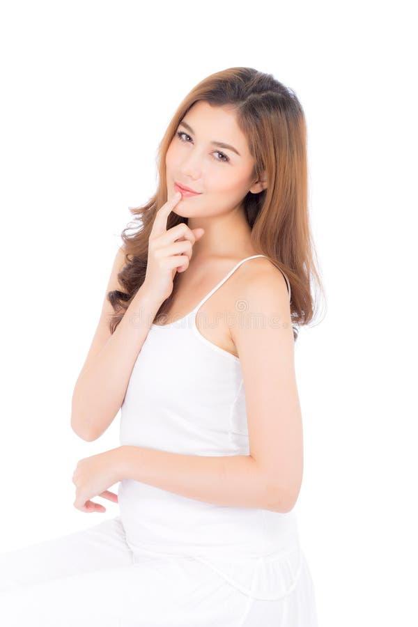 Schönes Mädchen mit Make-up, Frauen- und Hautpflegekosmetikkonzept/attraktivem asiatischem Mädchen auf Gesicht stockfotografie