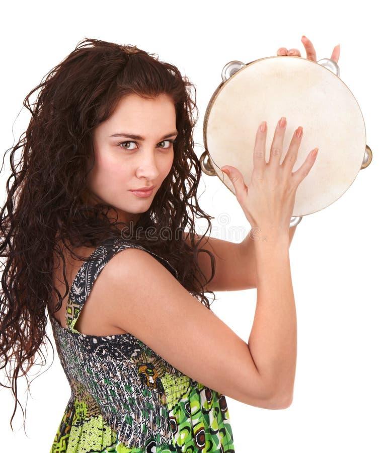 Schönes Mädchen mit Musikinstrument. stockfotos