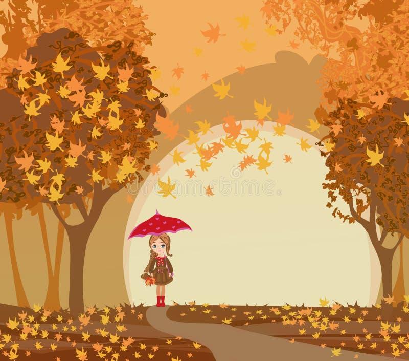 Schönes Mädchen mit Regenschirm an einem Herbsttag vektor abbildung