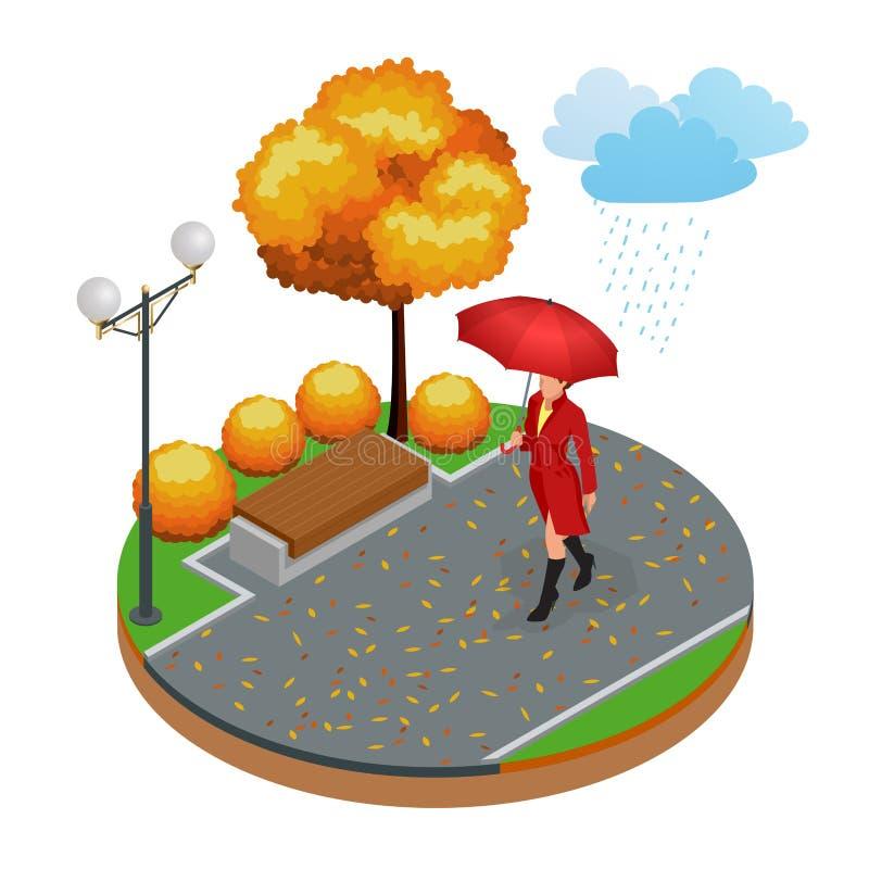 Schönes Mädchen mit Regenschirm am Herbstpark Isometrisches Vektorillustrationskonzept vektor abbildung