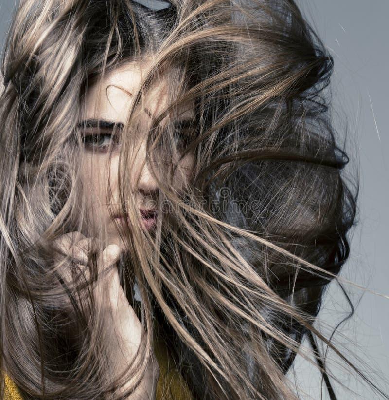 Schönes Mädchen mit vollkommener Haut und dem langen Haar lizenzfreies stockfoto