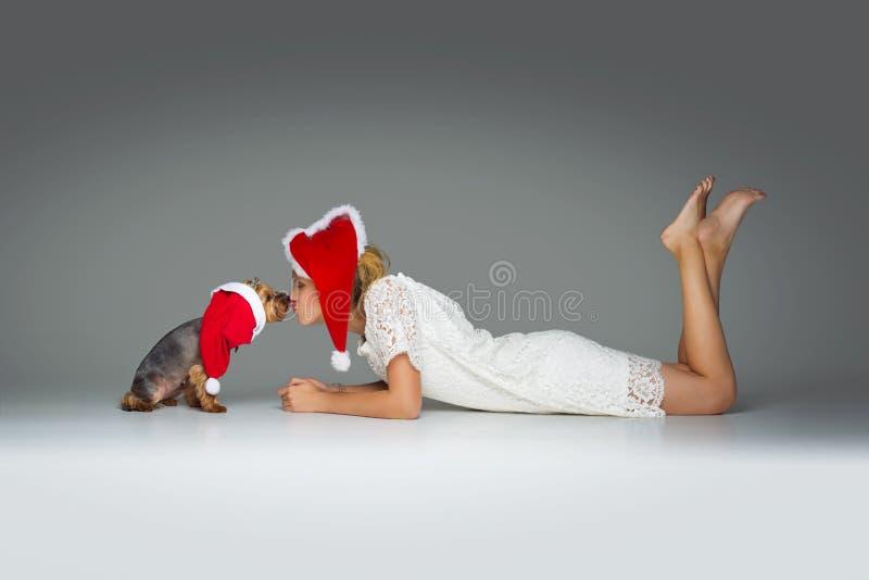 Schönes Mädchen mit yorkie Hund in Sankt-Kappe stockfotos