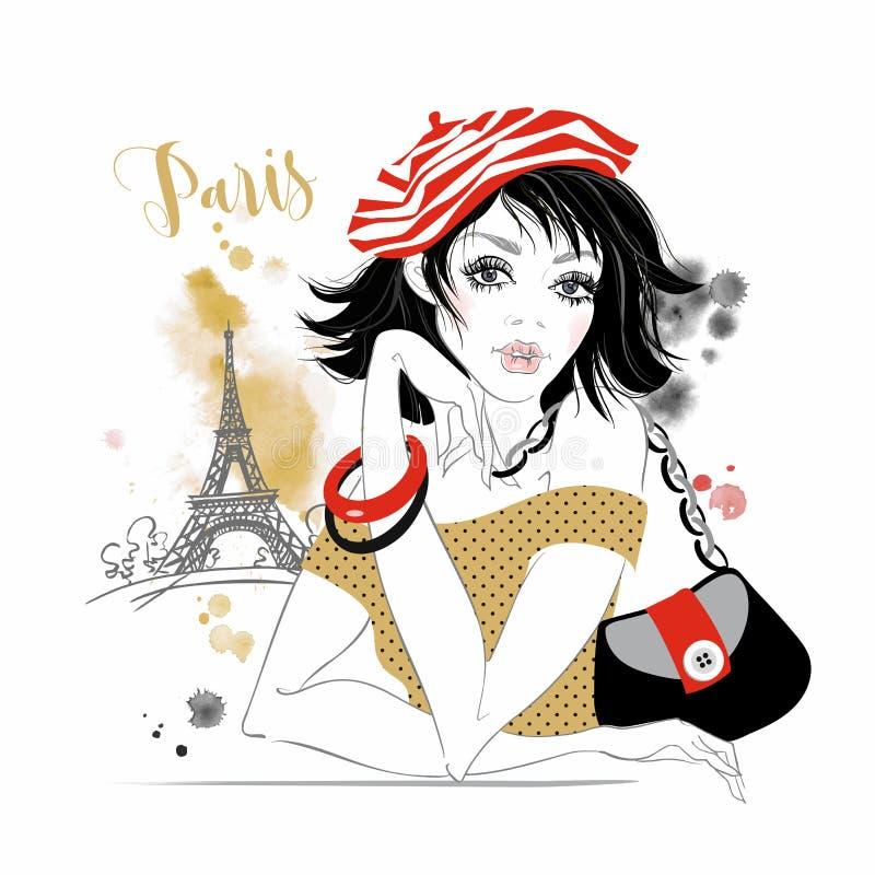 Schönes Mädchen in Paris Braut bilden Sie Gehen vor Notre Dame graphiken watercolor Vektor stock abbildung