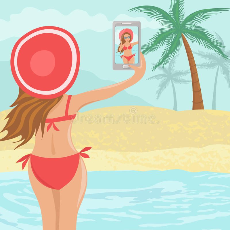 Schönes Mädchen Selfie auf Strand vektor abbildung
