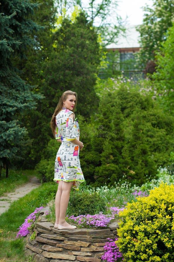 Schönes Mädchen steht auf dem Stein stockfotos