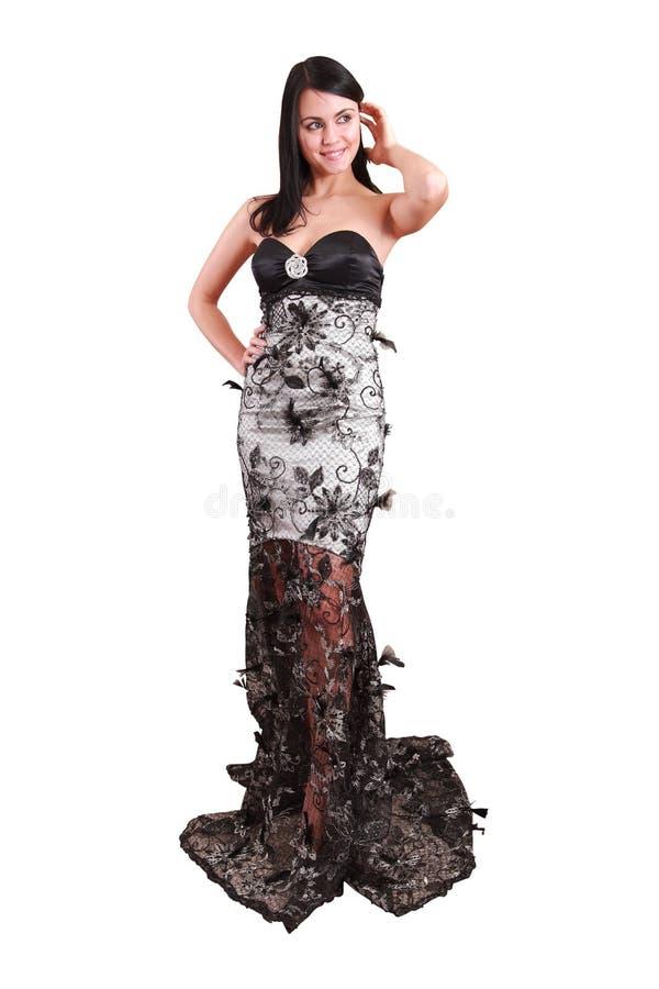 Schönes Mädchen Und Im Kleiderweißhintergrund Stockfotos