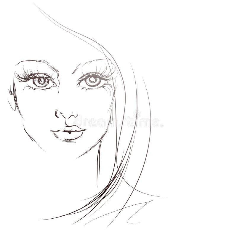 Schönes Mädchengesicht, Skizze, Vektor lizenzfreie abbildung