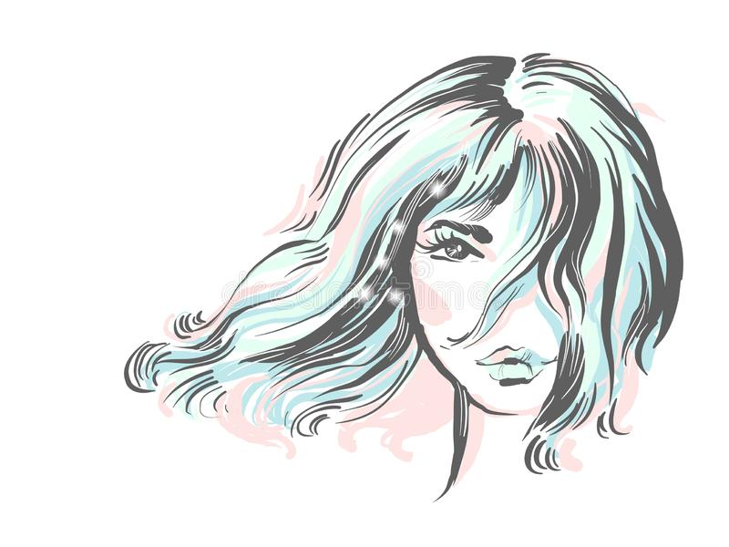 Schönes Mädchenporträt Bob-Frisur Vektor Zarte farbige Modeillustration mit Scheinen stock abbildung