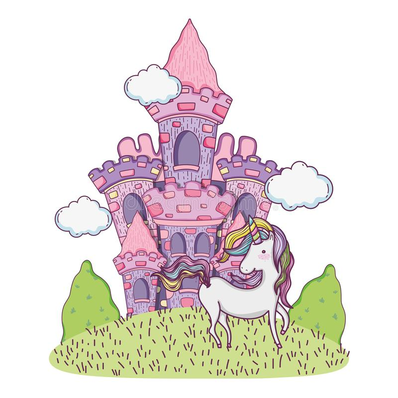 Schönes Märchenschloss auf dem Gebiet mit Einhorn vektor abbildung