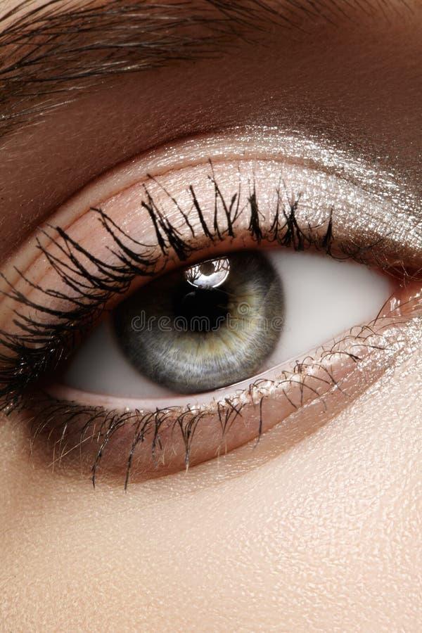 Schönes makro weibliches Auge mit klassischem sauberem Make-up Perfekte Formaugenbrauen, silberne Lidschatten Kosmetik und Verfas stockfotografie