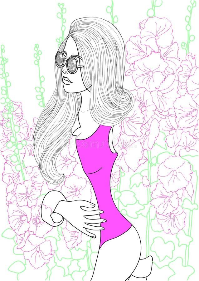 Schönes Modemädchen lizenzfreie abbildung