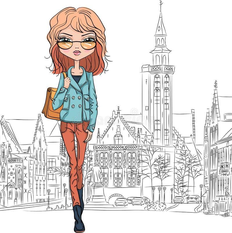 Schönes Modemädchen des Vektors in Brügge lizenzfreie abbildung