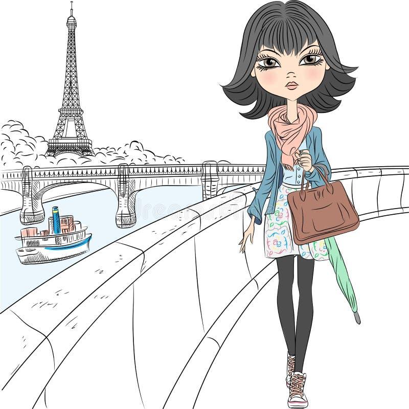Schönes Modemädchen des Vektors in Paris stock abbildung
