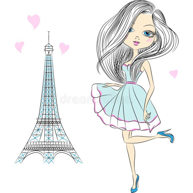 Schönes Modemädchen des Vektors in Paris lizenzfreie abbildung