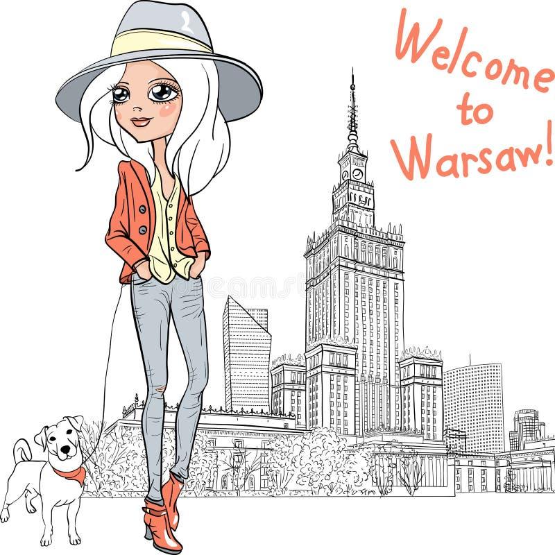 Schönes Modemädchen des Vektors in Warschau stock abbildung
