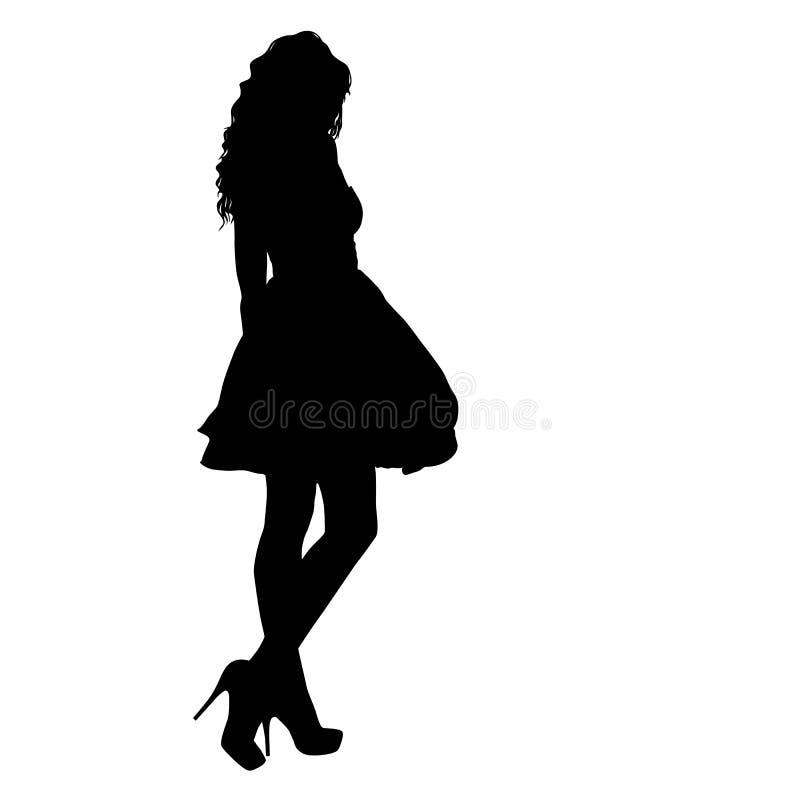 Schönes Modemädchenschattenbild auf einem weißen Hintergrund stock abbildung