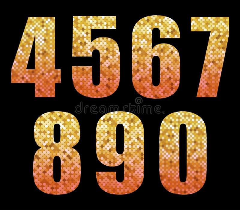 Schönes modisches Funkelnalphabet nummeriert mit Gold zum roten ombre vektor abbildung