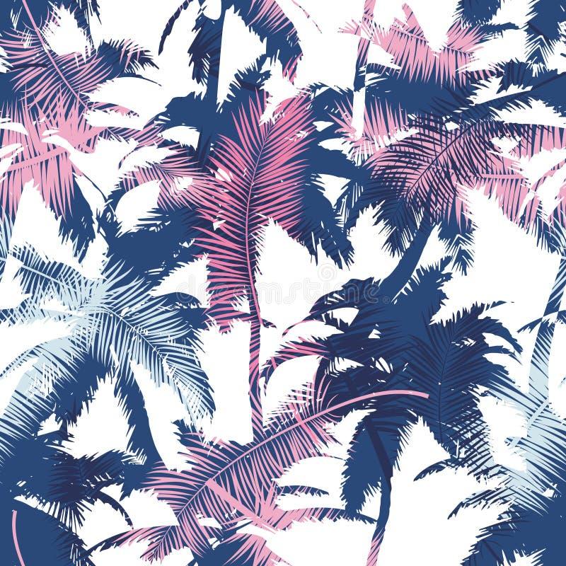 Schönes modisches nahtloses exotisches Muster mit Palme und tropischen Anlagen Modernes abstraktes Design für Papier, Tapete, Abd vektor abbildung