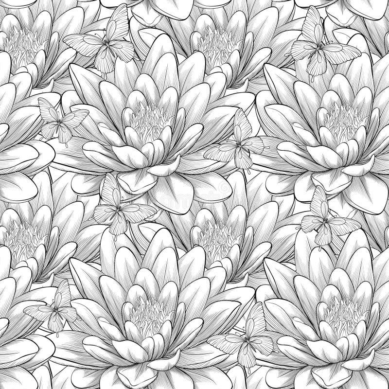 Schönes Monochrom, nahtloses Schwarzweiss-Muster mit Lotosblumen Von Hand gezeichnete Tiefenlinien und Anschläge vektor abbildung