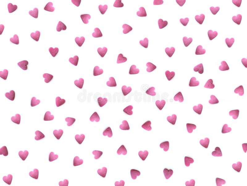 Schönes Muster mit den roten Herzen lokalisiert auf weiß- Valentinstag-Hintergrund Romantische Tapete für Grußkarte, Hochzeit stockfoto