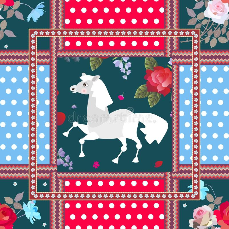 Schönes Muster mit nettem Karikaturpferde-, Zickzackgrenz-, Blumen- und Tupfenhintergrund Kissen oder Serviette für Kind vektor abbildung