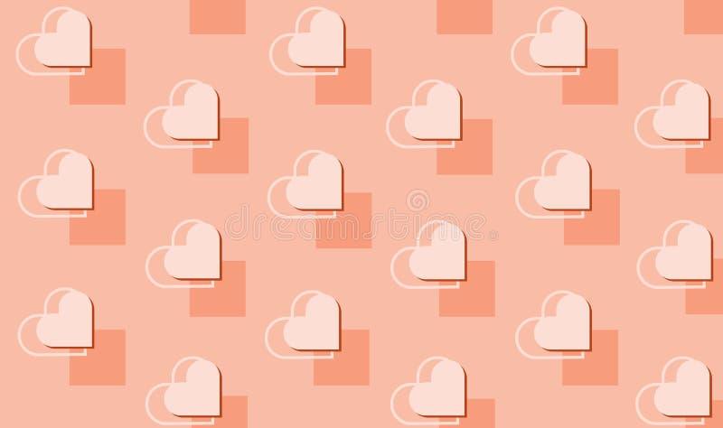 Schönes nahtloses geometrisches Muster des Vektors mit Herzen Feiertag Beschaffenheit für St.-Valentinstag wiederholend Einfaches stock abbildung