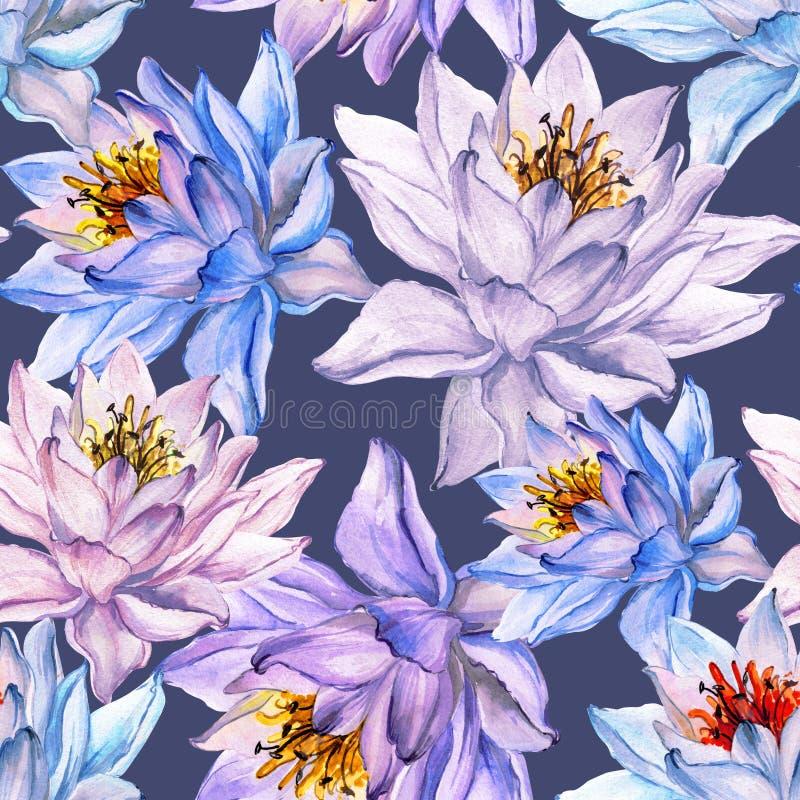Schönes nahtloses mit Blumenmuster Große bunte Lotosblumen auf grauem Hintergrund Hand gezeichnete Abbildung Adobe Photoshop für  vektor abbildung