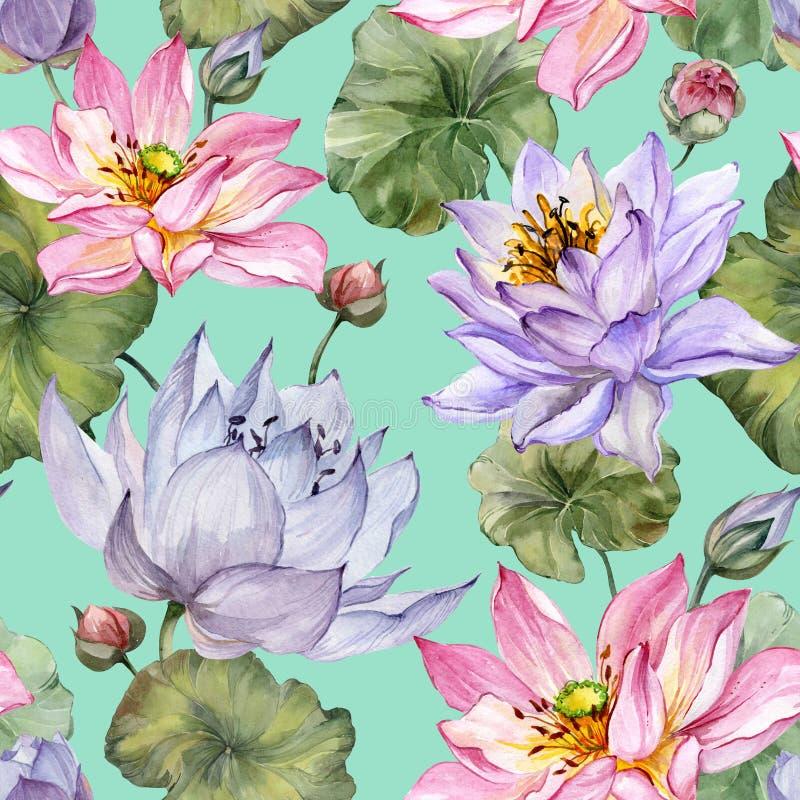 Schönes nahtloses mit Blumenmuster Große rosa und purpurrote Lotosblumen mit Blättern auf Türkishintergrund stock abbildung