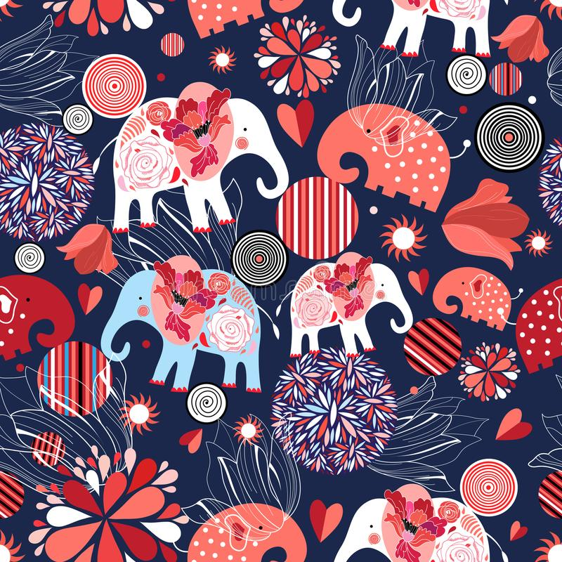 Schönes nahtloses Muster bezauberte Elefanten stock abbildung