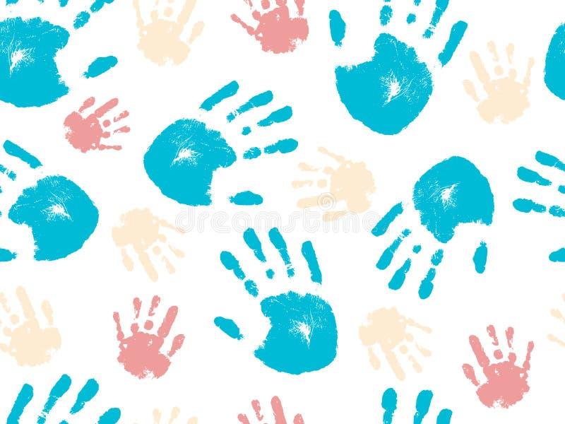 Schönes nahtloses Muster der menschlichen Palme der Hand Auch im corel abgehobenen Betrag lizenzfreie abbildung