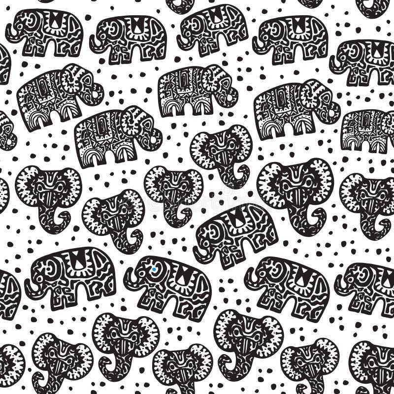 Schönes nahtloses Muster indischer Elefant mit Tupfenverzierungen Hand gezeichneter ethnischer Stammes- verzierter Elefant schwar stock abbildung