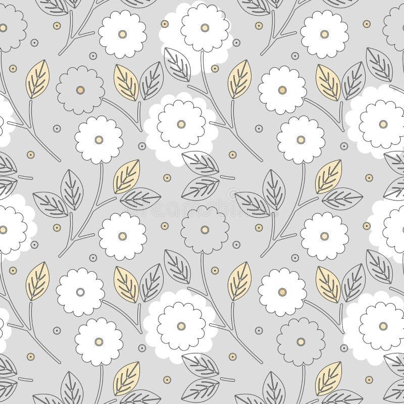 Schönes nahtloses Muster mit Blumen und Blättern lizenzfreie abbildung