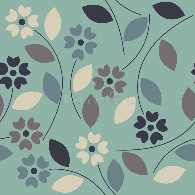 Schönes nahtloses Muster mit bunten Blumen und Blättern stock abbildung