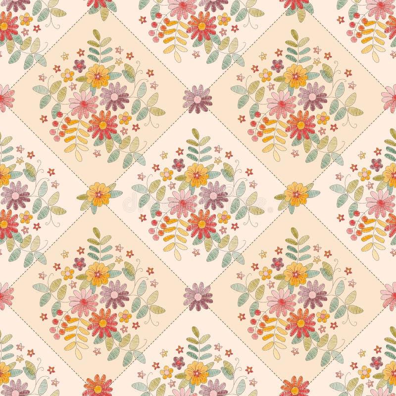 Schönes nahtloses Muster mit netter Blumenstickerei Sommerbl?te im Garten Druck f?r Gewebe, Gewebe, Tapete Reizende Tischdecke stock abbildung