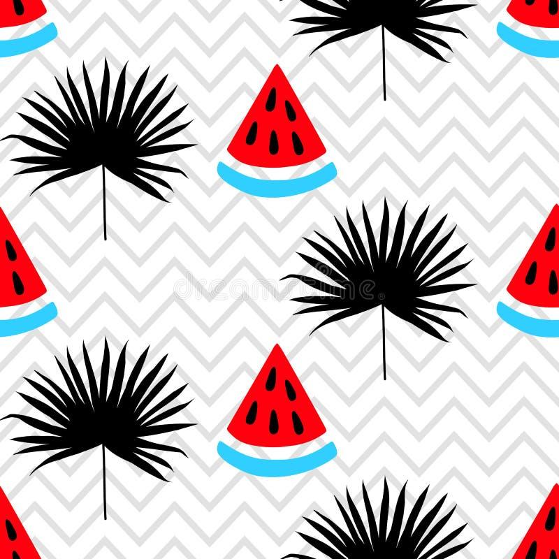 Schönes nahtloses Muster mit Wassermelone und tropisches Blattschattenbild auf einem geometrischen Zickzackhintergrund stock abbildung