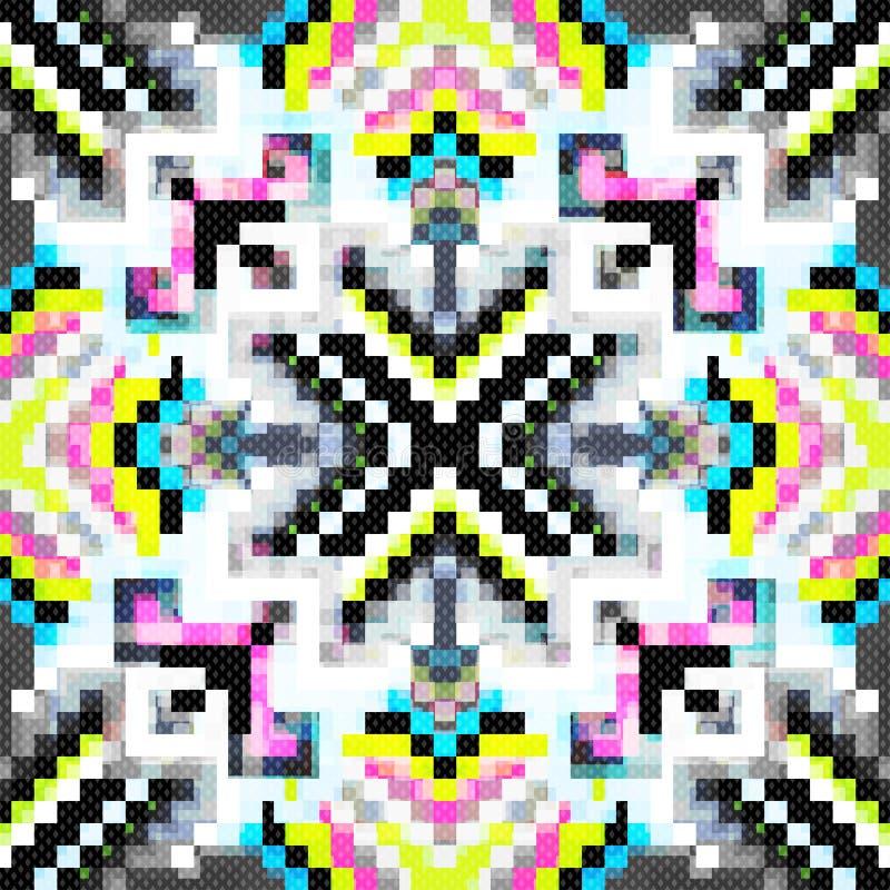 Schönes nahtloses Muster von farbigen Pixeln lizenzfreie abbildung