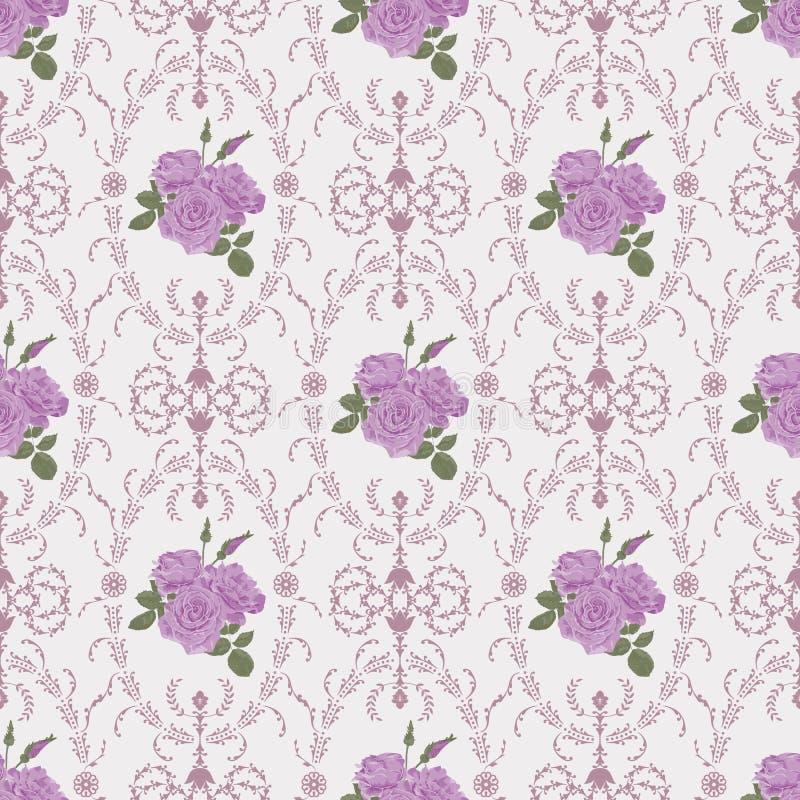 Schönes nahtloses rosafarbenes Muster mit barocker Hintergrundverzierung vektor abbildung