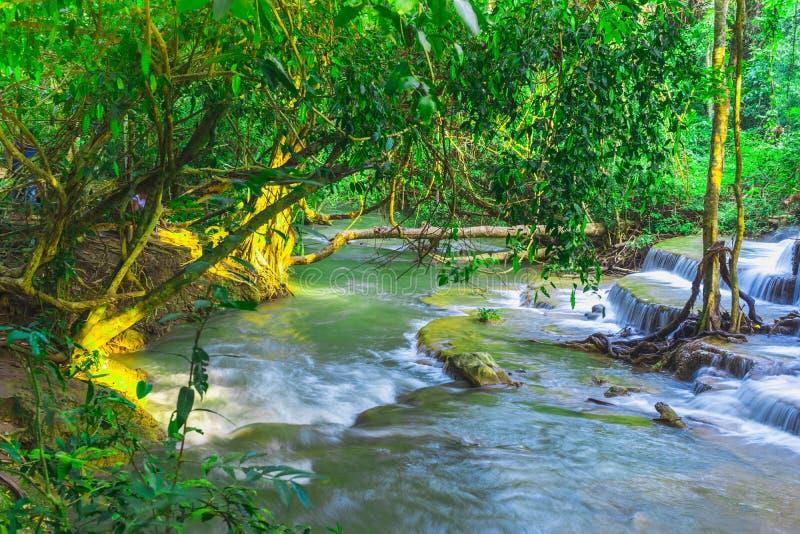 Schönes natürliches von Wasserfall Huay Mae Khamin, Kanchanaburi Pro stockbilder