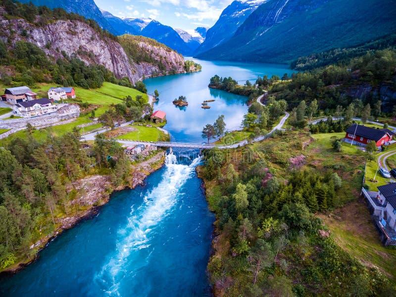 Schönes Natur-Norwegen-Luftbildfotografie stockfoto